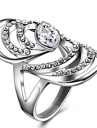 Ring Women Wedding Party Daily Casual Jewelry 316L Titanium Steel Rhinestone Ring Size 8 9 Crystal Punk Stainless Steel