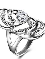 Ringe Kristall Strass Hochzeit Party Alltag Normal Schmuck Krystall Strass Titanstahl Damen Statementringe Ring 1 Stück,8 9 Silber