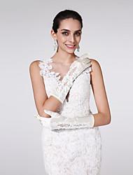 Wrist Length Fingertips Glove Satin Bridal Gloves