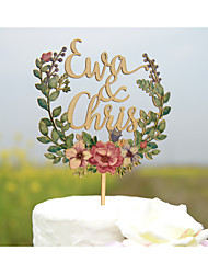 Wood Wedding Cake Topper with Custom First Names Cake Topper Printed with Water Color Flowers
