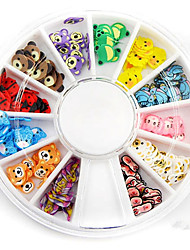 Mixed Color Soft Pottery Mini Cartoon Animal Nail Art Decoration