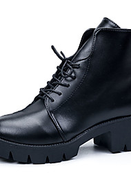 Черный-Женский-Повседневный-Кожа-На платформе-На платформе-Ботинки