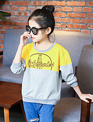 Girl's Fashion Going out Casual/Daily Holiday Print Tee Spring/Fall Children Cotton Long Sleeve Cartoon Color Block Shirt Blouse