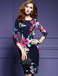 Women's Casual/Daily Simple Sheath Dress,Floral Round Neck Knee-length ¾ Sleeve Polyester Black Spring Mid Rise Inelastic