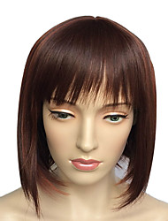 Wig Women's Hairstyle Dark Auburn Short Straight Synthetic Wig Cosplay Costume Wig Hairstyle