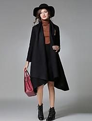 Damen Solide Street Schick Lässig/Alltäglich Arbeit Mantel,Herbst Winter Schal Revers Langarm Auf Links waschen Trocknen Standard Wolle