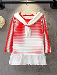 Girl's Casual/Daily Striped Dress,Cotton Winter Fall Long Sleeve
