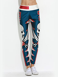 Women's Print Blue Active Pants,Active