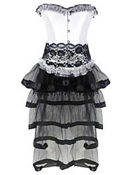 Burvogue Women's Gothic Halloween Lace up Corset Moulin Rouge Dress Clubwear Showgirl Costume