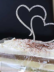1Pcs  Romantic Crystal Rhinestone Silver Double Heart Cake Topper Wedding Decoration
