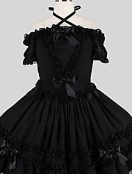 Uma-Peça/Vestidos Doce Elegant Cosplay Vestidos Lolita Preto Cor Única Manga Curta Longuete Vestido Para Feminino Algodão FRP
