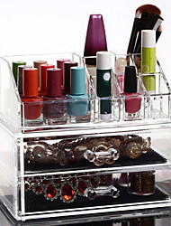 Makeup Cosmetics Organizer Clear Acrylic w/ 2 Drawers Display Box Storage