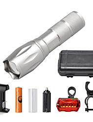U'King ZQ-G7000-Silver#3-US CREE XML-T6 2000LM Portable Zoom Flashlight Torch Kit 5Modes with 1*Battery and Charger