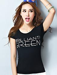 femmes manches courtes été 2017 été nouvelles femmes simples lettres t-shirt imprimé mince tops femmes