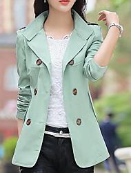 Damen Solide Einfach Lässig/Alltäglich Trench Coat,Frühling Ständer Langarm Auf Links waschen Kurz Baumwolle