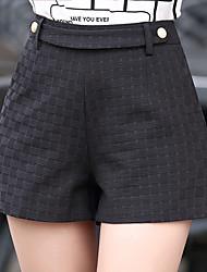 Mujer Tallas Grandes Corte Recto Perneras anchas Chinos Shorts Pantalones,Un Color Escocés Noche Casual/Diario Sexy Sencillo AdorableCon