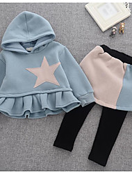 Girls' Casual/Daily Print Sets,Cotton Winter ¾ Sleeve Clothing Set