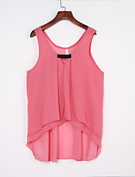 Women's Going out / Casual/Daily Sexy / Cute Fall / Winter Blouse,Solid Round Neck Sleeveless Blue / Pink / White / Green Polyester