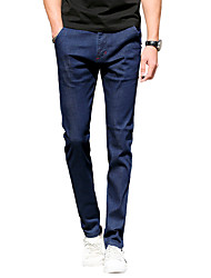 Men's Plus Size Slim Jeans Chinos Pants,Casual/Daily Vintage Simple Street chic Solid Low Rise Zipper Button Cotton Micro-elasticSpring