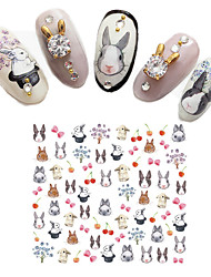 1 pcs Cartoon Cute Adorable Rabbit Nail Decals Watermark Forest