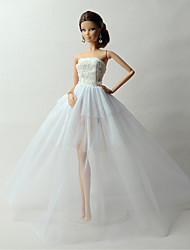 Princess Dresses For Barbie Doll White Solid Dresses For Girl's Doll Toy