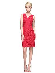 2017 Lanting Bride® Knee-length Lace Elegant Bridesmaid Dress - Sheath / Column Straps with Appliques