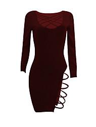 Moulante Robe Femme Soirée / Cocktail Soirée Sexy simple,Couleur Pleine Col Arrondi Au dessus du genou Manches Longues Bleu Rouge Noir