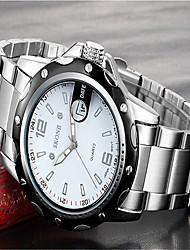 SKONE Men's Fashion Watch Wrist watch Quartz Calendar Stainless Steel Band Charm Luxury Silver
