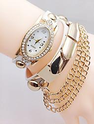Women's Bracelet Watch Simulated Diamond Watch Quartz Rhinestone Imitation Diamond Leather Band Black White Blue Silver Red