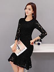 primavera e verão novos coreano vestido de manga magro sexy senhoras de renda saia fishtail vestido hip pacote