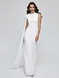TS Couture® Celebrity Formal Evening Dress - Elegant Sheath / Column High Neck Floor-length Chiffon with Pleats