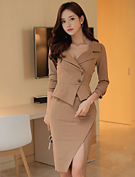 Spring and Autumn temperament suit female Korean Slim lapel long-sleeved dress slit package hip Specials