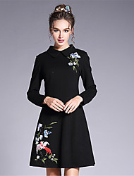 Women's Plus Size Going out Party/Cocktail Vintage Chinoiserie Sophisticated A Line Sheath DressSolid Embroidered Hand Made