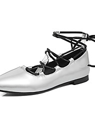 Women's Flats Spring Summer Fall Other PU Party & Evening Dress Casual Flat Heel Lace-up Black Silver Champagne