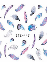 1pcs Fashion Different Colors Beautiful Feather Nail Art Water Transfer Decals For Lady Beauty Nail Art Design STZ445-448