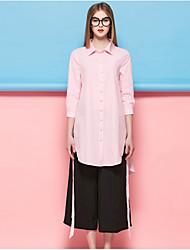 Tee-shirt Femme,Rayé Sortie Décontracté / Quotidien Travail simple Printemps Eté Manches ¾ Col de Chemise Bleu Rose Polyester