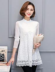 2017 Primavera novas mulheres&# 39; s rendas camisa feminina camisa de mangas compridas coreano fina demonstrou secções finas e longas