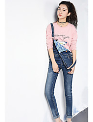 Sign in spring and autumn 2017 new stretch denim fabric strap pants pocket women Slim