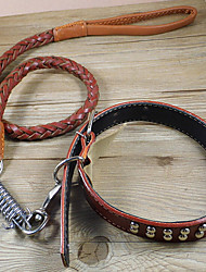 Large And Medium Sized Dog Dog Leather Chain Traction Rope Collar Pet Supplies Pet Supplies And Satsuma Golden Arad
