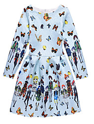 Girl's Print Dress,Polyester Spring Fall Long Sleeve