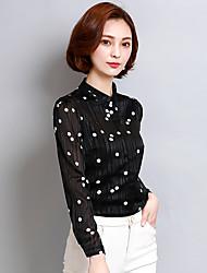 Chemise Femme,Imprimé Sortie simple Manches Longues Col de Chemise Polyester