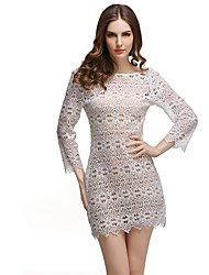 Women's Beach Sexy Tunic Dress,Solid Print Round Neck Above Knee Long Sleeve White Polyester Summer Mid Rise Micro-elastic Thin
