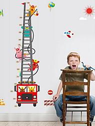 Cartoon Fire Truck Height Scale Wall Sticker Vinyl Material Home Decoration