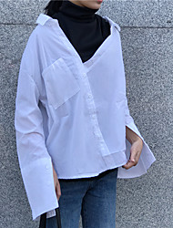 Sign CHIC wind stitching leave two high-necked loose shirt solid color shirt chic tailoring