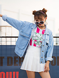 Sign Korean personality big pocket loose denim jacket female BF wind