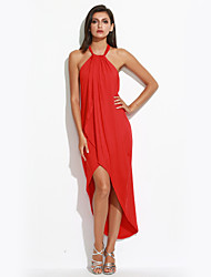 Women's Beach Simple Loose Dress,Solid Halter Asymmetrical Sleeveless Pink / Red / Black / Green / Purple Polyester Summer