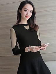 2017 весной моделей чистой пряжи сращивания с длинными рукавами, V-образным вырезом вязать свитер диких дна рубашки внутри езды без