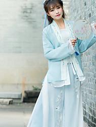 Cosplay Fest/Feiertage Halloween Kostüme Weiß Grün Himmelblau Blumen Top Rock Frau Baumwolle Leinen