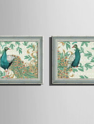 E-HOME® Framed Canvas Art Green Peacock on The Branch Framed Canvas Print One Pcs