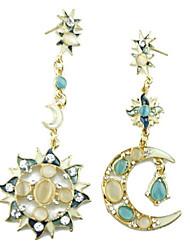 Fashion simple sun moon asymmetric stud earrings 0417 #